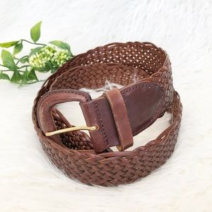 Express Woven Leather Belt Chestnut Brown Size M
